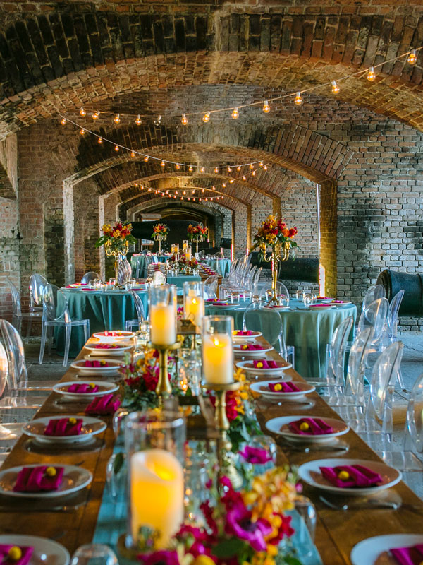 Photo of a wedding reception setup at Fort Zachary Taylor.