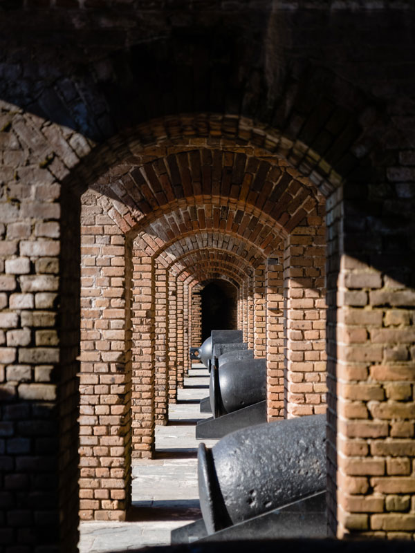 Photo of the brick arches and canons in Fort Taylor.