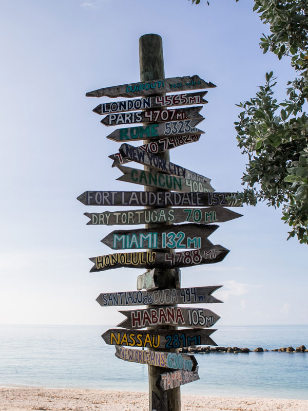 Photo of the major cities signs post at Fort Zachary Taylor Beach.