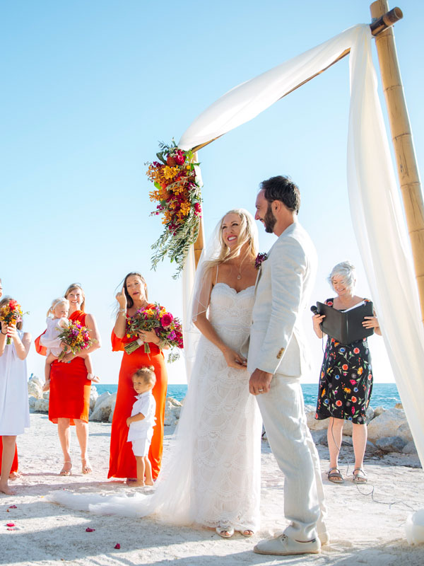 Photo of a wedding ceremony at Fort Zachary Taylor Beach.