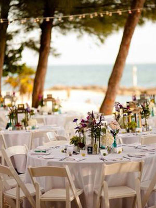 photo of a beach wedding reception at fort zachary taylor park