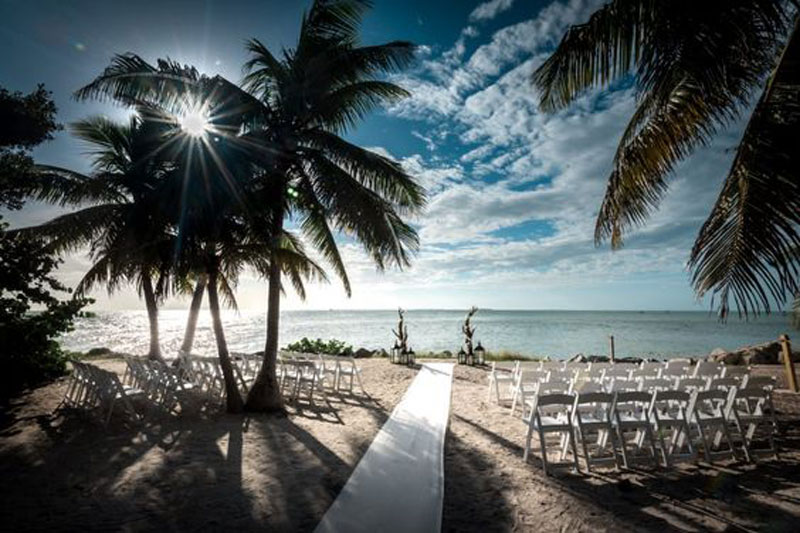 Wedding ceremony set up at the Point at Fort Zachary Taylor.
